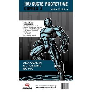 100 BUSTE PROTETTIVE COMICS 3 (18,5 X 26,5)