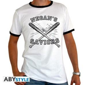 ABYTEX391 - THE WALKING DEAD - T-SHIRT NEGAN'S SAVIORS MAN WHITE - PREMIUM M