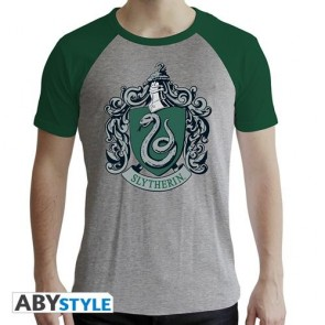 ABYTEX507 - HARRY POTTER - T-SHIRT SLYTHERIN MAN GREY&GREEN - PREMIUM L
