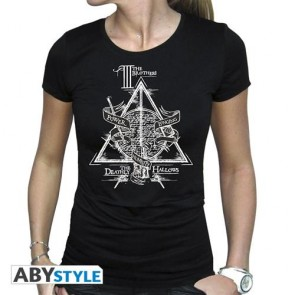 ABYTEX562L - HARRY POTTER - T-SHIRT DONNA - DEATHLY HALLOWS - L
