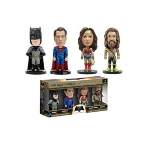 BATMAN VS SUPERMAN - MINI WACKY WOBBLER - SET 4 PEZZI - BOBBLE HEAD 7CM