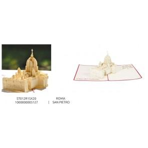 BIGLIETTO DI AUGURI POP-UP 3D - MONUMENTI - ROMA SAN PIETRO