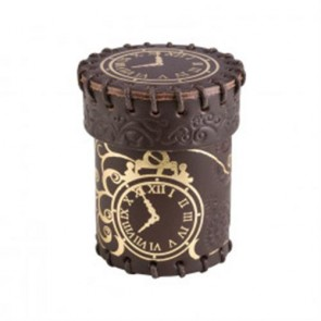 CSTE102 - STEAMPUNK BROWN & GOLDEN LEATHER DICE CUP
