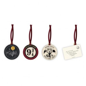 DECHP02 - HARRY POTTER - DECORATION SET OF 4 - HARRY POTTER (LETTER, HOGWARTS, DOBBY, 9 3/4)