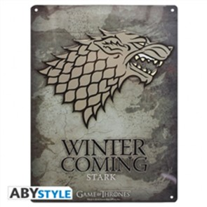 GAME OF THRONES - PLACCA METALLICA STARK 28X38 CM