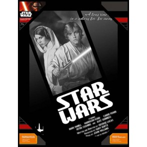 STAR WARS - TEMPERED GLASS POSTER (30X40CM) - LUKE AND LEIA BLACK AND WHITE