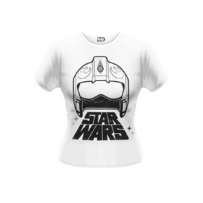 STAR WARS EPISODE VII - T-SHIRT DONNA - WING FIGHTER HELMET - L