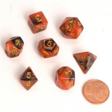 08773 - FAIRY DICE RPG SET - BICOLOR BLACK ORANGE (9-12MM)
