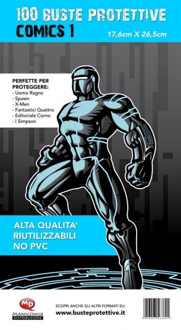 100 BUSTE PROTETTIVE COMICS 1 (17,6 X 26,5)
