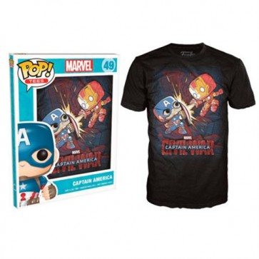 7946 - T-SHIRT - POP TEES 49 - CAPTAIN AMERICA CIVIL WAR - L