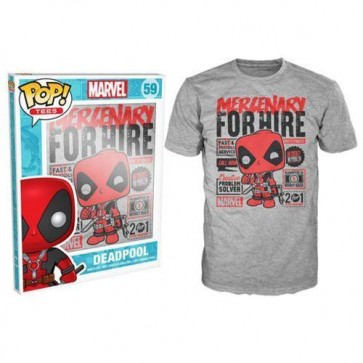 8570 - T-SHIRT - POP TEES 59 - DEADPOOL MERCENARY FOR HIRE - L