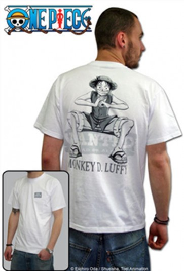ABYTEX045L - T-SHIRT - ONE PIECE - WANTED WHITE L