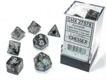 CHX 27578 - SET 7 DADI POLIEDRICI - BOREALIS LIGHT SMOKE/SILVER LUMINARY