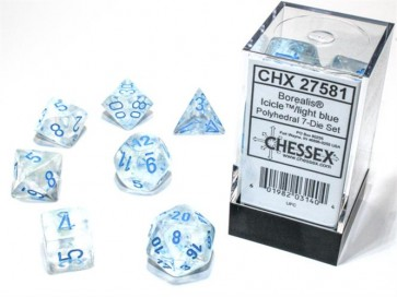 CHX 27581 - SET 7 DADI POLIEDRICI - BOREALIS ICICLE/LIGHT BLUE LUMINARY