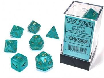 CHX 27585 - SET 7 DADI POLIEDRICI - BOREALIS TEAL/GOLD LUMINARY