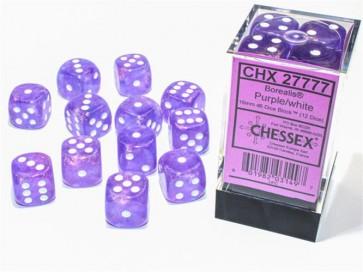 CHX 27777 - SET 12 DADI 6 FACCE 16MM - BOREALIS PURPLE/WHITE LUMINARY