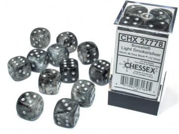 CHX 27778 - SET 12 DADI 6 FACCE 16MM - BOREALIS LIGHT SMOKE/SILVER LUMINARY