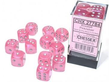 CHX 27784 - SET 12 DADI 6 FACCE 16MM - BOREALIS PINK/SILVER LUMINARY