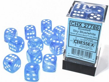 CHX 27786 - SET 12 DADI 6 FACCE 16MM - BOREALIS SKY BLUE/WHITE LUMINARY