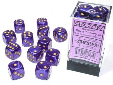 CHX 27787 - SET 12 DADI 6 FACCE 16MM - BOREALIS ROYAL PURPLE/GOLD LUMINARY