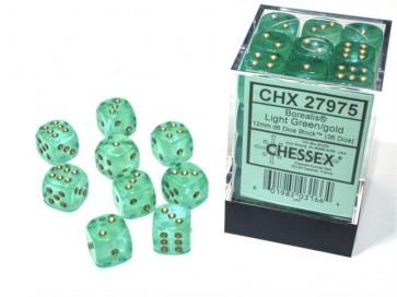 CHX 27975 - SET 36 DADI 6 FACCE 12MM - BOREALIS LIGHT GREEN/GOLD LUMINARY