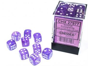 CHX 27977 - SET 36 DADI 6 FACCE 12MM - BOREALIS PURPLE/WHITE LUMINARY