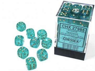 CHX 27985 - SET 36 DADI 6 FACCE 12MM - BOREALIS TEAL/GOLD LUMINARY