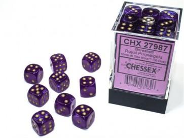 CHX 27987 - SET 36 DADI 6 FACCE 12MM - BOREALIS ROYAL PURPLE/GOLD LUMINARY