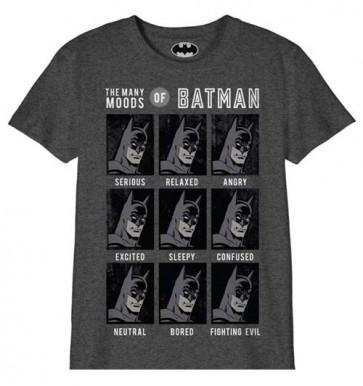 DC COMICS BATMAN - TS034 - T-SHIRT BAMBINO 10 ANNI - THE MANY MOODS OF BATMAN