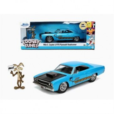 LOONEY TOONS - ROAD RUNNER PLUMOUTH DIE-CAST W/ WILLY IL COYOTE - SCALA 1:24