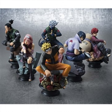 NARUTO SHIPPUDEN - SCACCHI MINI FIGURE SET CHESS PIECE COLLECTION R VOL.1 (6 PZ) MEGAHOUSE 9 CM