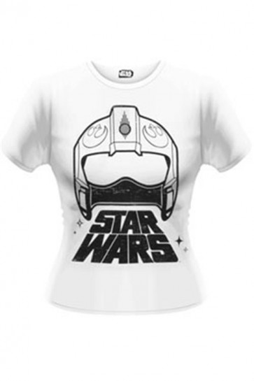 STAR WARS EPISODE VII - T-SHIRT DONNA - WING FIGHTER HELMET - M