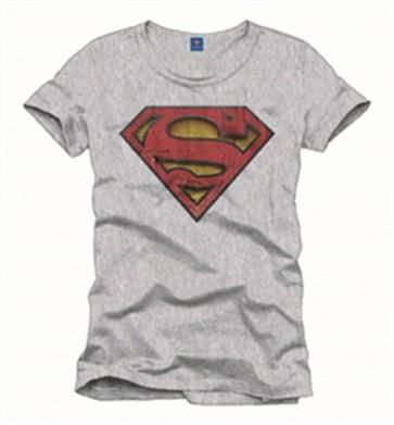 SUPERMAN - T-SHIRT UOMO - VINTAGE LOGO - GRIGIO - L