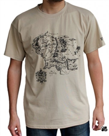 T-SHIRT - LORD OF THE RINGS - MAPPA TERRA DI MEZZO - L